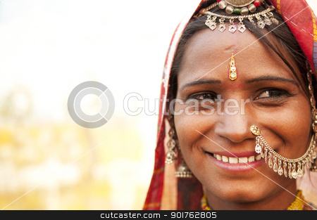 Happy Indian woman stock photo, Portrait of a traditional clothing Indian smiling by szefei