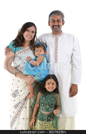 Traditional Indian family stock photo, Happy traditional Indian family in traditional Indian costume standing on white background by szefei