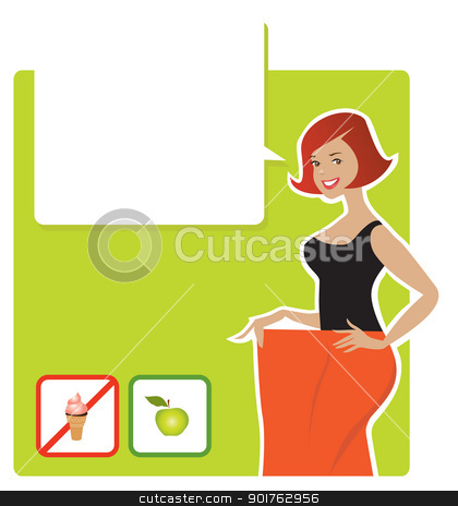 Diet result stock vector clipart, Vector illustration of a lady enjoying diet's results by Vanda Grigorovic