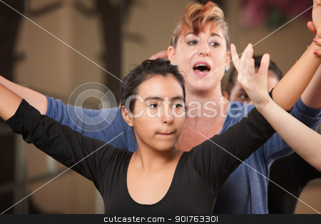 Dance Teacher with Student stock photo, Dance teacher with young student in class by Scott Griessel