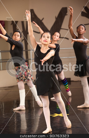 Four Young Ballet Students stock photo, Group of four young Black and Latina dance students by Scott Griessel