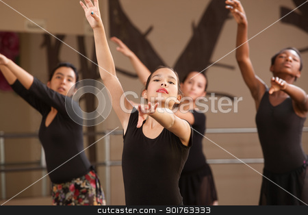 Young Ballet Students stock photo, Four Black and Hispanic dance students practicing by Scott Griessel