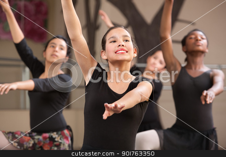 Four Dancers Rehearsing stock photo, Group of four young Black and Latina dance students by Scott Griessel