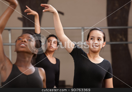 Young Dancers Practing stock photo, Ballet students rehearsing arm movements during practice by Scott Griessel