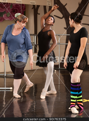 Ballet Students And Teacher stock photo, Dance teacher helps student in ballet class by Scott Griessel
