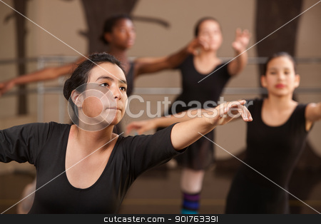 Teen Ballet Students stock photo, Performance rehearsal by young ballet students in class by Scott Griessel