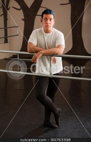 Serious Ballet Dancer stock photo, Serious male teen ballet dancer on railing by Scott Griessel