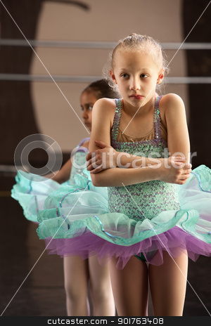 Cold Ballet Student stock photo, Cute shivering mulatto child in ballet dress by Scott Griessel
