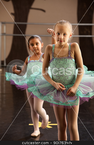 Two Ballerinas Standing stock photo, Two children in ballet dresses standing in a dance studio by Scott Griessel