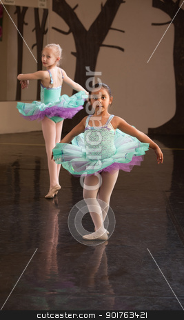 Two Adorable Ballet Students stock photo, Two little ballet students practice in a dance studio by Scott Griessel