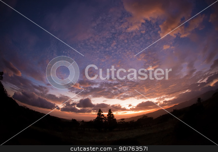 Fisheye Lens Cloudscape stock photo, Fisheye lens scene of sunset and clouds outside by Scott Griessel