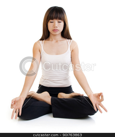Meditation. stock photo, Young Asian woman having meditation with lotus position on white background. by szefei