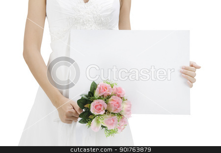 Blank sign stock photo, Bride holding a empty white card, ready for text by szefei