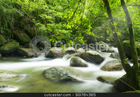 mountain river stock photo, A mountain river with sunbeam.   by szefei