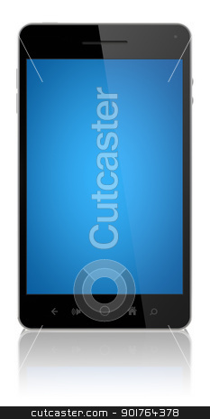 Smart Phone With Blue Screen Isolated stock photo, Modern smart phone with blue screen isolated on white.  by manaemedia