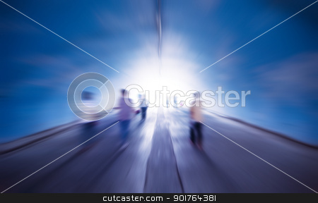 Walk into the light stock photo, People walk into the light, purposely blurred. by szefei
