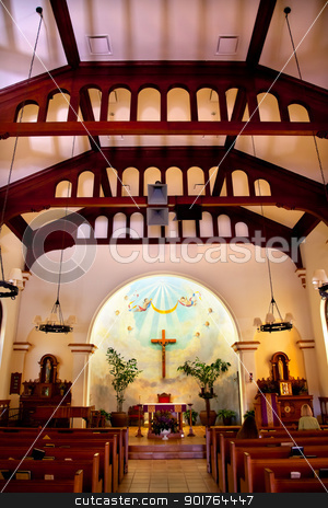 Immaculate Conception Church Interior Old San Diego Town Califor stock photo, Old Immaculate Conception Church Interior Old San Diego California  Historic Adobe Church built originally in 1851.  The Old Adobe Church was restored and reopened in 1917.   by William Perry