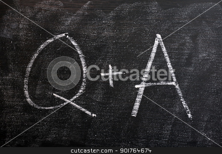 Question and Answer symbols on a blackboard stock photo, Question and Answer - symbols drawn with chalk on a smudged blackboard by John Young