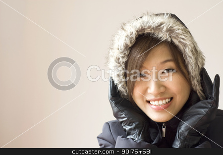 winter women stock photo, Portrait of a happy winter women by szefei