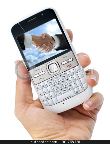 Business phone stock photo, Business mobile phone on hand. Image on screen belongs to me. by szefei