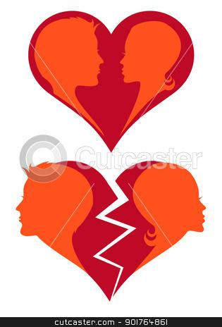 love and broken heart, vector stock vector clipart, man and woman in love and broken heart, vector illustration by Beata Kraus