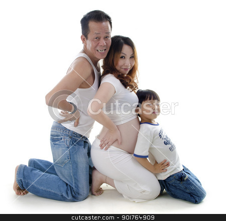 Fun family stock photo, Asian pregnant woman and her family kneeling  on white background by szefei