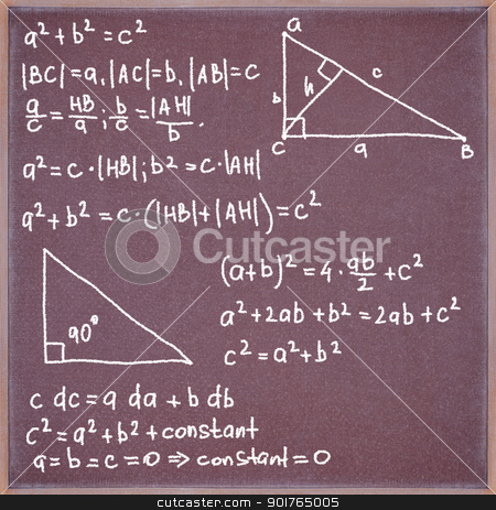 Blackboard with formulas and equations. stock photo, Blackboard with chalk written formulas and equations. by Borys Shevchuk