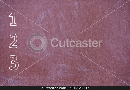 Blackboard with numbers one, two and three. stock photo, Blackboard with bolshimitsiframi one, two and three drawn in chalk. by Borys Shevchuk