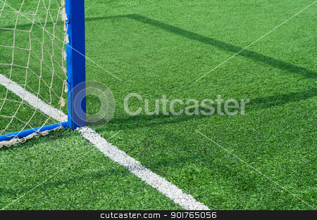 Part football field with goal. stock photo, Part field with goal for game of football. by Borys Shevchuk