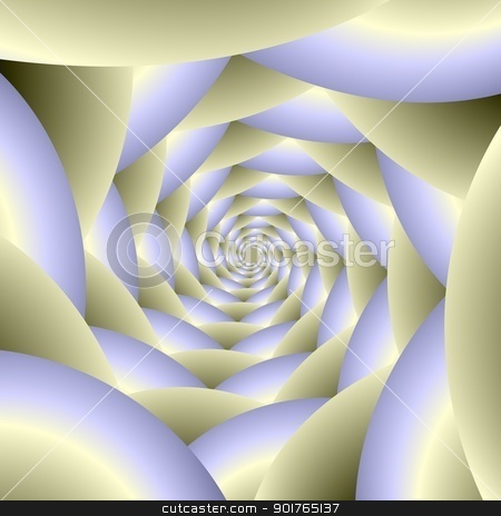 Into the Light stock photo, Digital abstract fractal image with a spiral design in white and pale blue by Colin Forrest