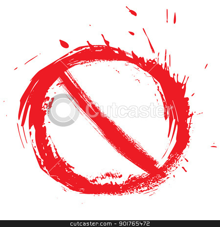Restricted symbol stock vector clipart, No entry symbol created in grunge style by Oxygen64