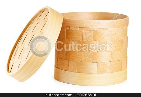 Birch bark container stock photo, Birch bark container. Item of traditional handicrafts by Sergej Razvodovskij