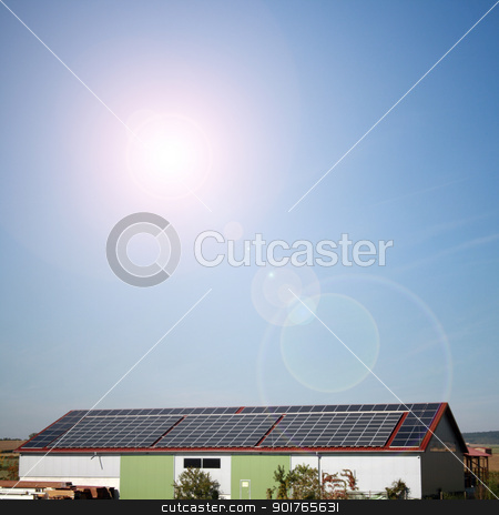 solar plants in the house during sunny weather stock photo, solar panels to generate electricity by Viktor Thaut