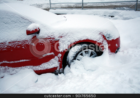 car covered with snow stock photo, car in the winter on the road by Viktor Thaut