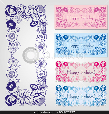 Happy birthday labels with floral frame stock vector clipart, Happy birthday label design with floral frame in male and female colors by HypnoCreative