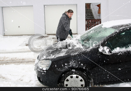 winter car - boy remove  stock photo, car in the winter on the road by Viktor Thaut