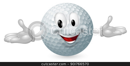 Golf Ball Mascot stock vector clipart, Illustration of a cute happy golf ball mascot man by Christos Georghiou