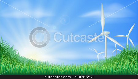 Wind turbines landscape illustration  stock vector clipart, Illustration of wind turbines in green landscape for sustainable renewable energy power generation  by Christos Georghiou