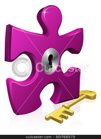 Lock and key jigsaw piece stock vector clipart, Illustration of locked jigsaw piece. Business concept for problem solving or other by Christos Georghiou