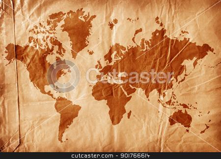 Vintage world map stock photo, Vintage world map,2D digital art by Janaka Dharmasena