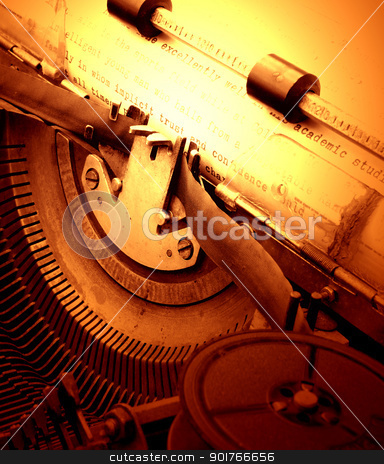 old typewriter stock photo, Close up of old typewriter by Janaka Dharmasena