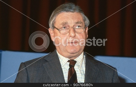 Rt.Hon. Sir Patrick Mayhew stock photo, Rt.Hon. Sir Patrick Mayhew, Attorney General and Conservative party Member of Parliament for Tunbridge Wells, speaks at a party conference in London, England on December 1, 1990. by newsfocus1