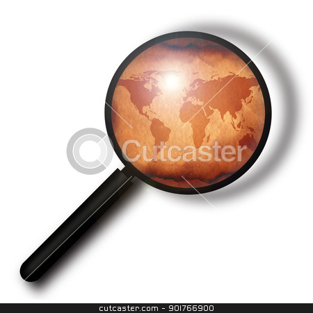 Vintage world map with magnifying glass stock photo, Vintage world map with magnifying glass by Janaka Dharmasena