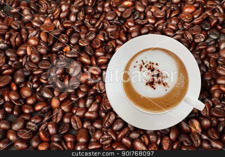 Top view of coffee cup with coffee beans. stock photo, Top view of coffee cup with coffee beans background. by kongsky
