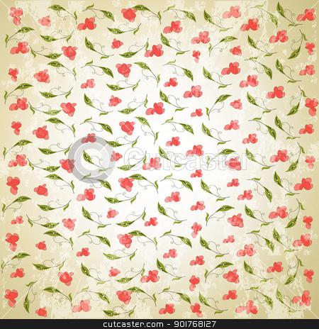 vintage vector floral background stock vector clipart, vintage vector floral background by balasoiu