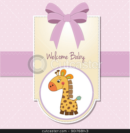 new baby girl announcement card with giraffe stock vector