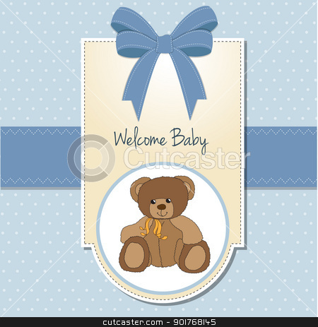 new baby boy announcement card with teddy bear stock vector clipart, new baby boy announcement card with teddy bear by balasoiu