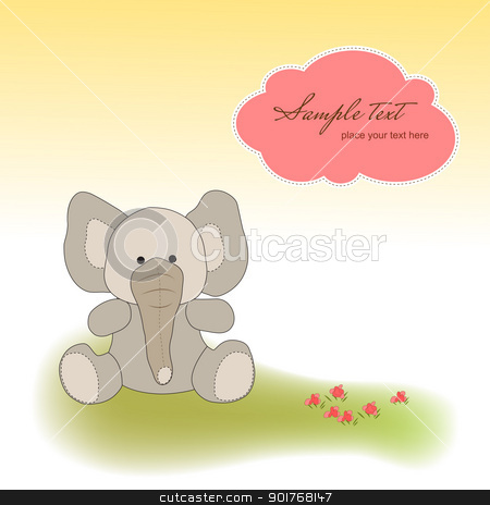 delicate greeting card with elephant stock vector clipart, delicate greeting card with elephant by balasoiu