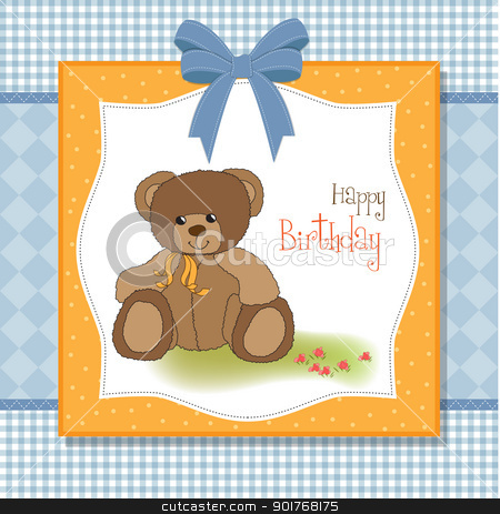 happy birthday card stock vector clipart, happy birthday card by balasoiu