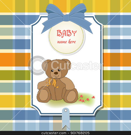 baby shower card with teddy bear toy stock vector clipart, baby shower card with teddy bear toy by balasoiu